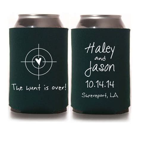 The Hunt is Over Wedding Koozies koozie by