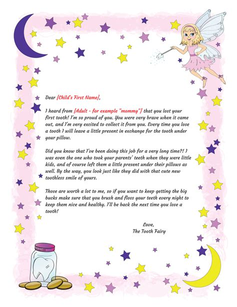 printable letters from the tooth fairy tooth fairy letter first tooth printable intended for