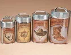 Western Kitchen Canisters by 4 Pc Rustic Western Cowboy Tin Kitchen Canister Set For