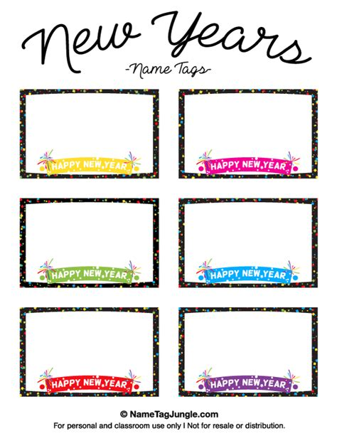 New Year Place Cards Templates by Free Printable New Year S Name Tags The Template Can Also