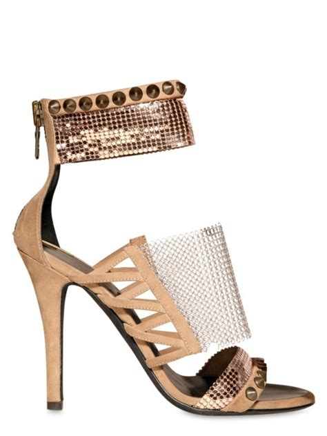 Balmain Metal Net Suede Sandals balmain metal net suede sandals in beige lyst
