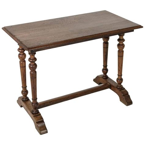 Oak Bistro Table 20th Century Oak Bistro Pub Table Desk With Columns And Trestle For Sale At 1stdibs