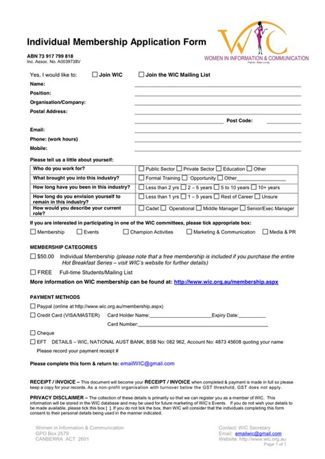 membership form template pdf individual membership application form template in word