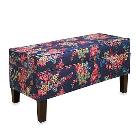 navy storage bench buy skyline furniture storage bench in moona navy from bed bath beyond