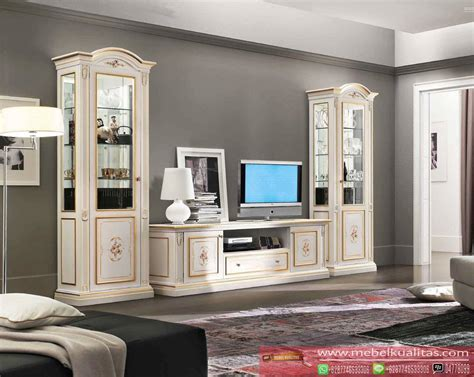 Mebel Furniture Interior Custom Berkualitas set bufet tv klasik white interior rumah terbaru mebel