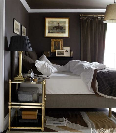 brown and grey bedroom brass etagere transitional bedroom house beautiful