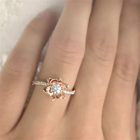 rings with flowers flower design engagement ring settings 14k by