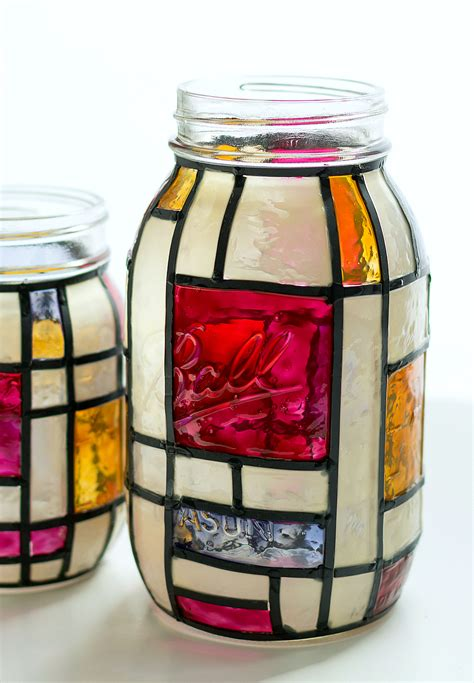 crafts with glass jars mondrian stained glass jars