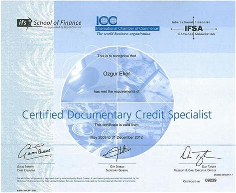 Certificate Of Documentary Letter Of Credit Specialist Cdcs Lc Certified Documentary Credit Specialist