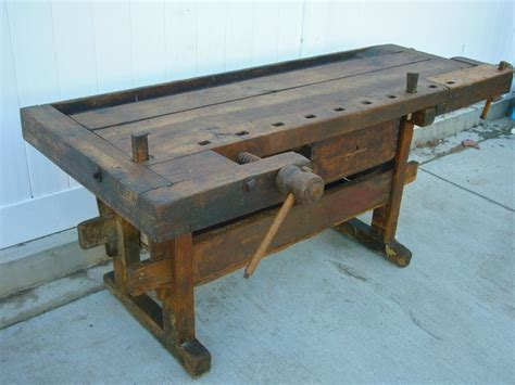fabulous antique wooden carpenters workbench  vises   drawer work benches  tool