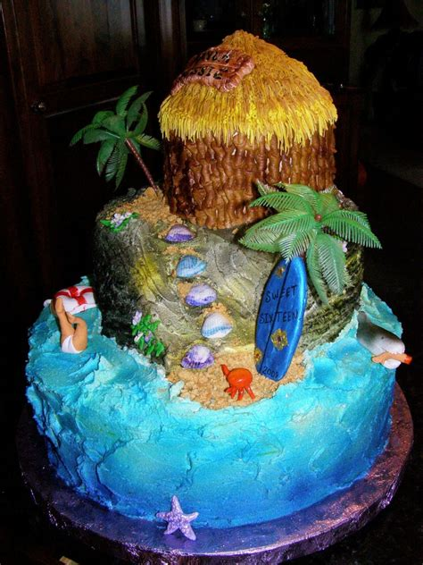 Beach Theme Decorating by Sweet Sixteen Beach Birthday Cake Cakecentral Com