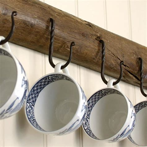 Wrought Iron Black Beeswax Cup Hooks