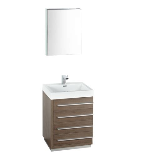 24 inch gray oak modern bathroom vanity with medicine