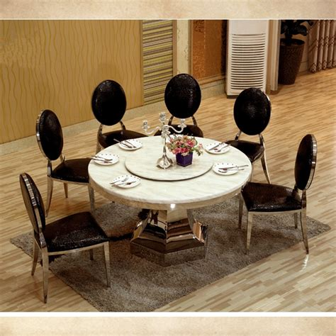 Marble Dining Table 8 Seater 8 Seater Big Dining Table With Turntable Marble Top Dining Table With Stainless Steel Fram