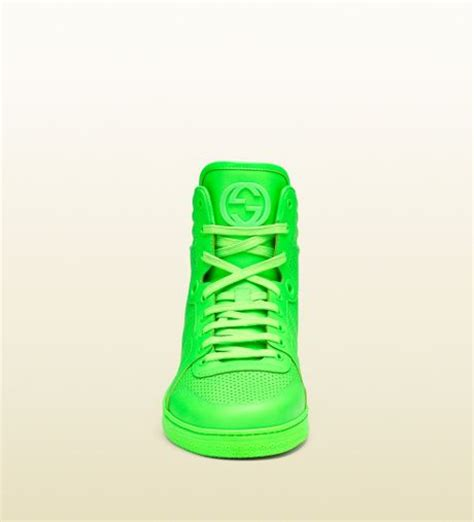 neon green gucci sneakers gucci neon green leather hightop sneaker in green for