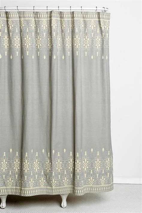 embroidered shower curtains magical thinking embroidery ivory and gray shower curtain