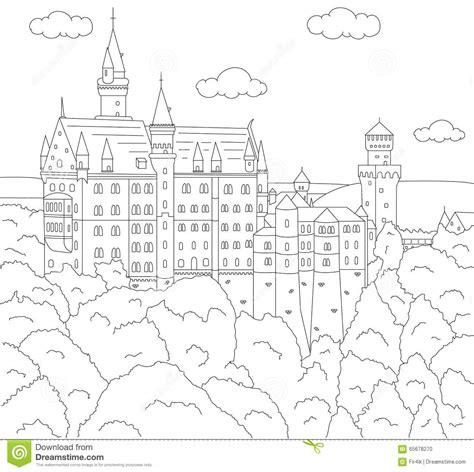 neuschwanstein castle coloring page neuschwanstein castle coloring book for kids stock vector