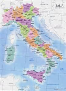 regions map with cities geography detailed map of italy