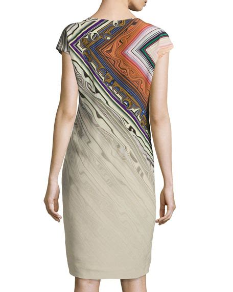Printed Sleeve Sheath Dress escada printed cap sleeve sheath dress