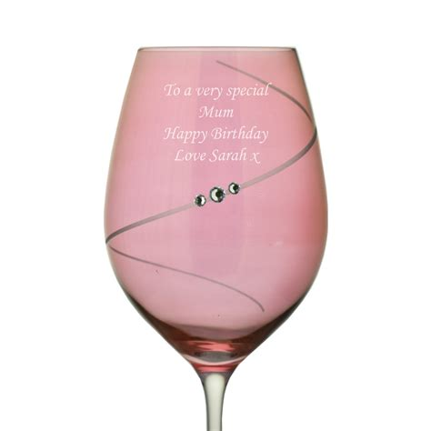 personalised pink wine glass with swarovski elements