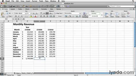 youtube tutorial excel formulas excel how to use autosum formulas lynda com tutorial
