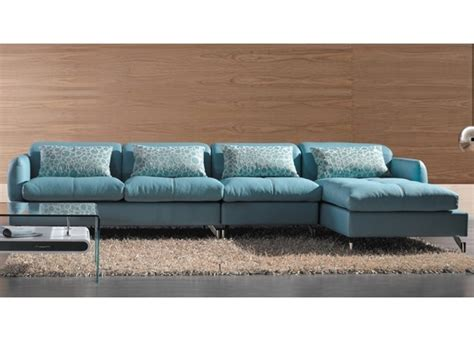 modern blue leather sectional sofa living room