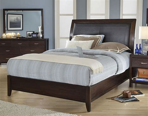 Contemporary California King Bedroom Sets | cushioned back california king size wood sleigh bed