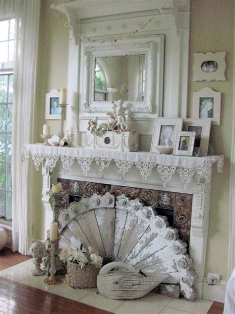 vintage shabby chic fireplace vignette romantic rooms pinterest
