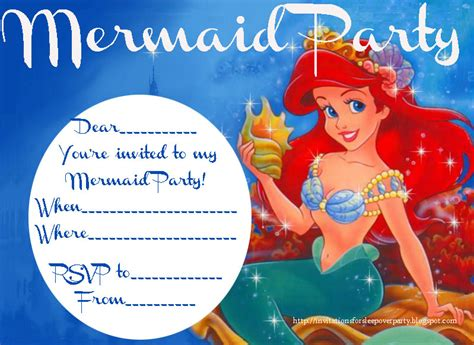 printable birthday invitations ariel little mermaid invitation free printable orderecigsjuice