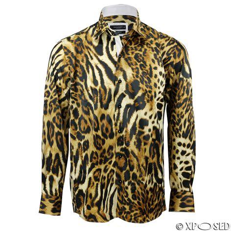 mens italian designer style smart casual silk feel leopard