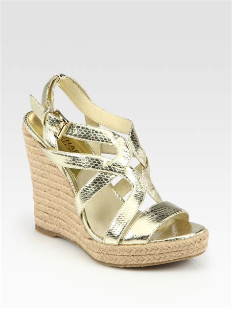 michael kors gold wedge sandals michael michael kors palm metallic snake print