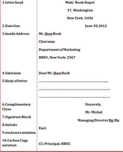 Exle Business Letter With Optional Parts pandu excel business letter