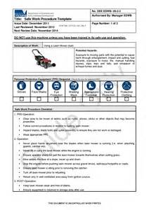 Work Procedures Template by Best Photos Of Procedure Template Safe Work