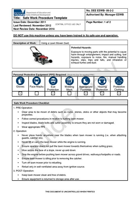 safety sop template best photos of procedure template safe work