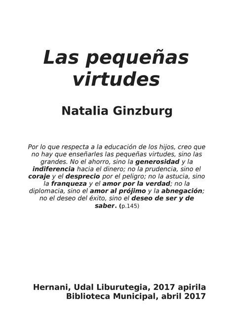las pequeas virtudes las peque 241 as virtudes natalia ginzburg by hernani liburutegia issuu