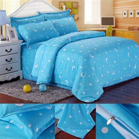 Tommony Bed Cover Single other bedding cotton blue moon printing bedding set bed sheet duvet cover pillowcase