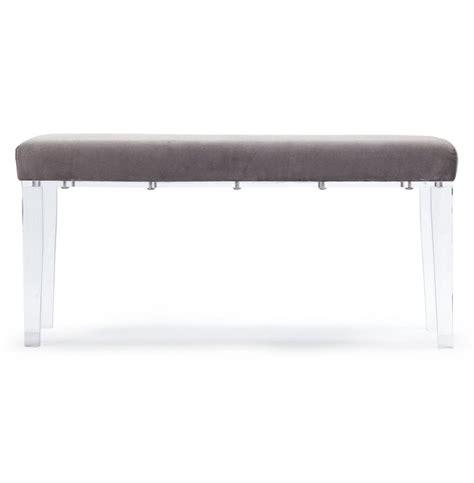 acrylic vanity bench tatiana hollywood regency deco acrylic grey velvet vanity bench kathy kuo home