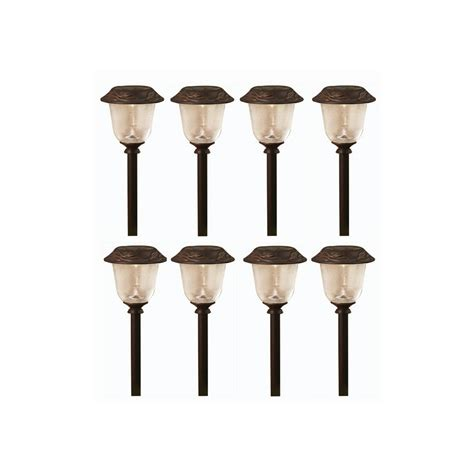 Solar Lights Lowes Shop Allen Roth 8 Pack Rubbed Bronze Solar Powered
