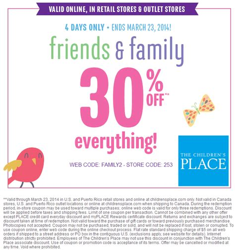 printable children s place outlet coupons you must sign up here to get a news about children s