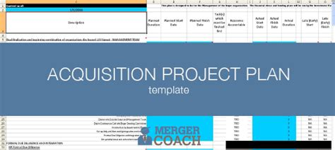 Mergers And Acquisitions Project Plan Templates Resource Acquisition Plan Template