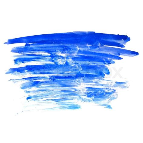 blue stroke paint brush color water watercolor isolated on white background stock photo