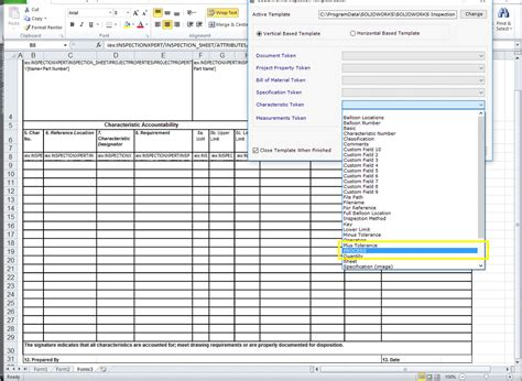 article inspection form template customizing fields in solidworks inspection solidworks