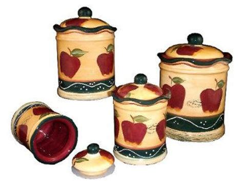 apple canisters for the kitchen country apple vintage style heavy kitchen canisters