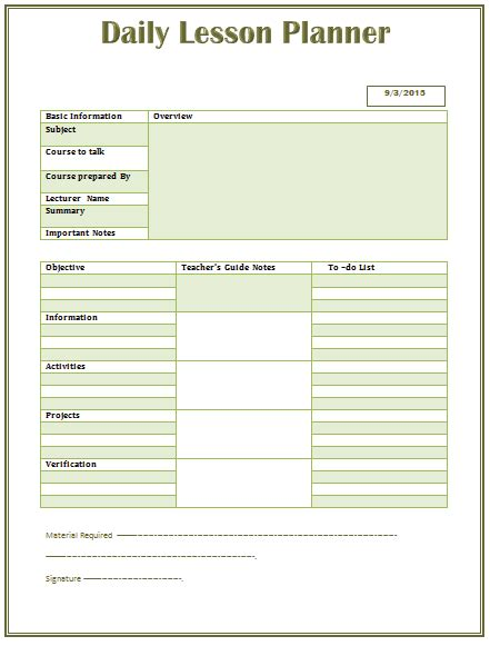 lesson plan template for word daily lesson plan template for middle and high school