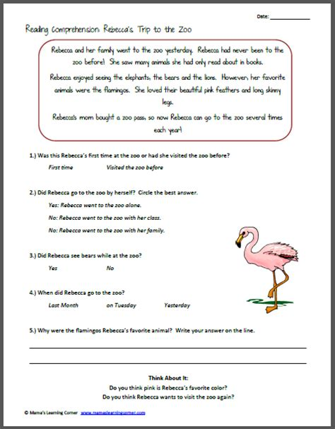 Reading Comprehension Worksheets 1st Grade by Reading Comprehension S Trip To The Zoo Mamas