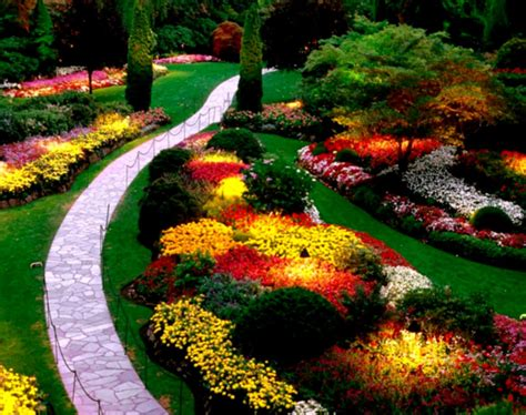 Flower Garden Design Pictures Flower Garden Landscaping With Green Grass And Colourful Flowers Homelk