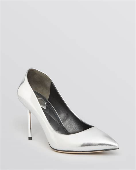 silver pointed toe high heels b brian atwood pointed toe pumps malika high heel in