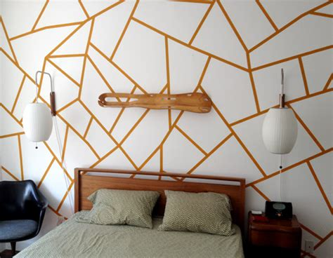 painted wall designs diy project geometric painted wall design sponge