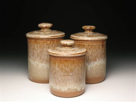 stoneware kitchen canisters kitchen canister set pottery ceramic stoneware earth tones