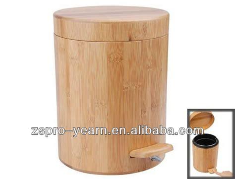 wooden bathroom bin bamboo wooden trash garbage can dustbin rubbish ash bin waste basket with foot pedal